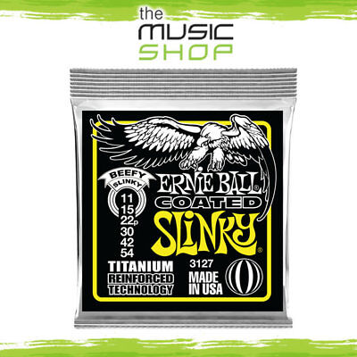 5 x Ernie Ball 3127 Coated Beefy Slinky Heavy Titanium Guitar Strings 11-54