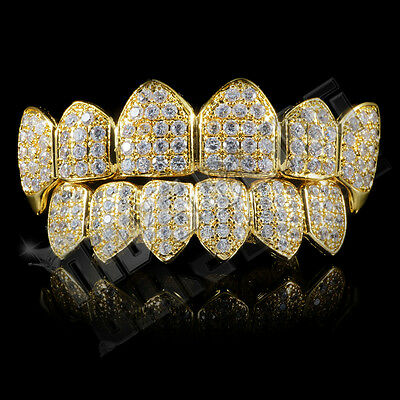 18K Gold Plated Custom Slugs CZ Vampire Fang Top Bottom GRILLZ Mouth Teeth Set