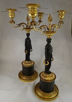 """Pair of French Empire gilt and patinaed bronze candelabra. 19th c. 15 ½"""" tall"""