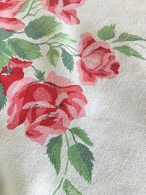 """Vintage Pink Roses Wilendur Style Tablecloth 58""""X46"""""""