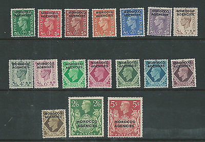 Morocco Agencies - 1949, 1/2d - 5s KGVI stamps - Mint Never Hinged- SG 77/93