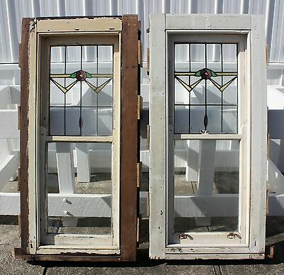 Pair 1930's double hung stained glass leadlight windows.