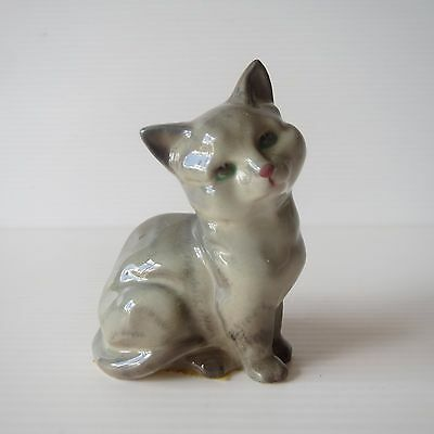 Vintage Royal Doulton Figure, Grey Cat Kitten, Lovely Cute Collectible