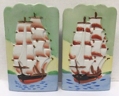 2- Vintage Ceramic Wall Pocket TALL SAILING SHIP Japan Pat. 64211 Hand Painted