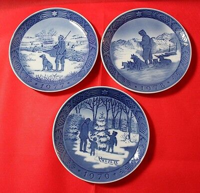 Royal Copenhagen Christmas Collector's Plates 1977-1979 Excellent Cond. lot of 3
