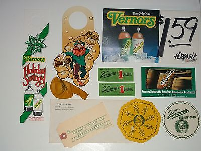 11 NOS VERNORS GINGER ALE Group 2 COASTERS,Labels,Balloon,Hang,Ship Tag,Envelope