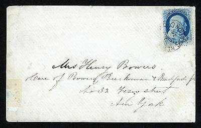 Usa Cover 1¢ Blue Rear Type 2 Scott # 20  Used On A Cover 1857 - 61 Washington