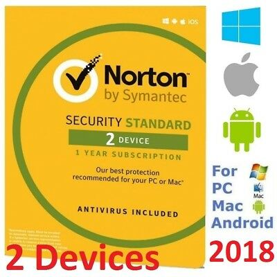 Norton INTERNET SECURITY STANDARD 2018 2 Devices AntiVirus Windows Mac Android