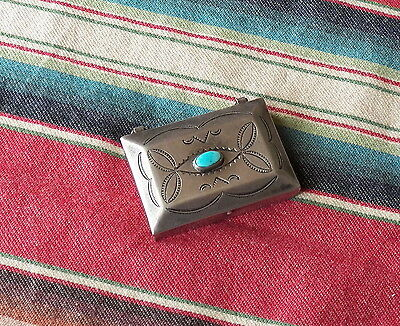 Vintage Navajo Handmade Stamped Silver Turquoise Pill Box