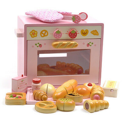 Pink Wooden Pretend Play Toy Kitchen Food Bread Oven Bakery Set Accessories
