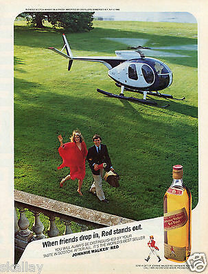 1986 Print Ad of Johnnie Walker Red Label Scotch Whisky helicopter lands on yard