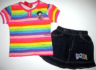 BNWT embroidered Dora top t-shirt tshirt and denim skirt oufit set New release