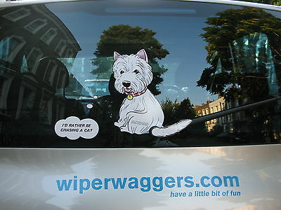 Dog Lover's Dog Car Sticker Collectable With Wiper Wagging Tail - Westie