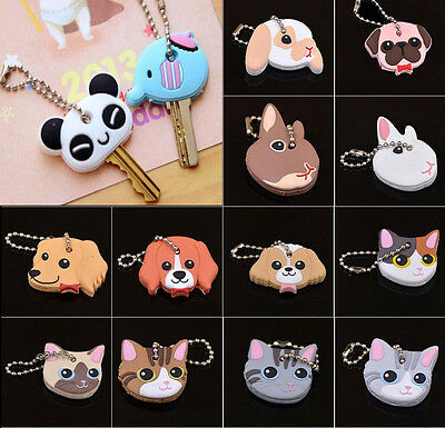 1Pc Cute Puppy Pug Cat Rabbit Key Cover Cap Keychain Key Ring PVC Unisex Gift US