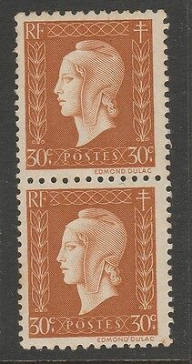 1944 FRANCE 30c BROWN MARIANNE STAMP PAIR MNH