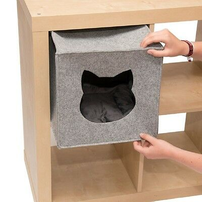 Felt Cat Den for Shelves Bed Cave Shelf Hideaway Cosy Sturdy Cushion Soft Lined