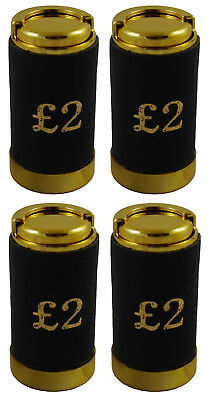 4 x Two Pound £2 Coin Holder Gadget Holds Up to 15 Coins Gold & Black Leather