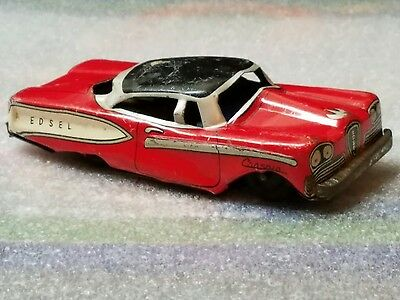 Vintage Tin Litho Friction Toy Car Made In Japan Edsel Consain