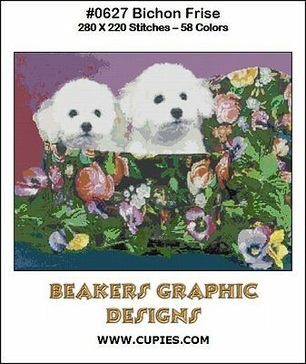 BICHON FRISE Puppies Counted Cross Stitch detailed #0627