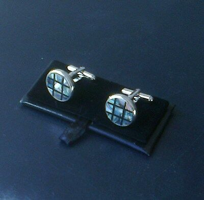 Men's Mother of Pearl Cuff Links[110] - Multi-coloured - Round - Boxed