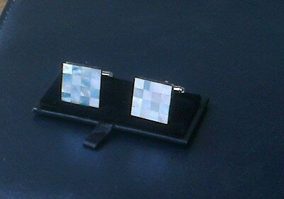 Men's Mother of Pearl Cuff Links[108] - Blue & White - Square - Boxed