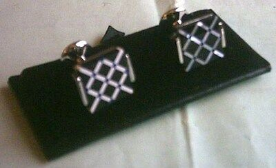 Men's Mother of Pearll Cuff Links[102] - Black Diamond - Boxed