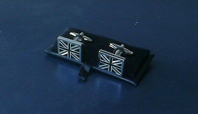 Men's Mother of Pearl Cuff Links[113] - Union Jack in Black & Silver - Boxed