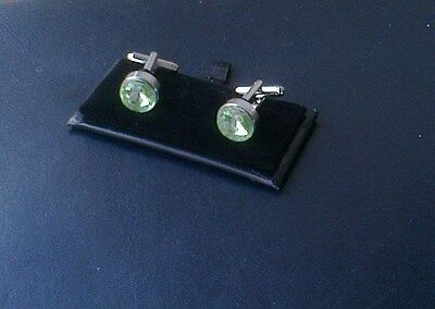 Men's Crystal Cuff Links[220] - Large Light Green - Boxed