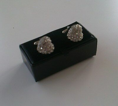 Men's Crystal Cuff Links[206] - Large White Heart - Boxed