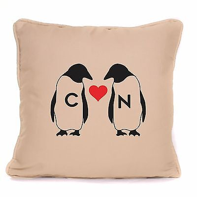 Penguin Love Heart Design Personalised Cushion Valentines Or Anniversary Gift