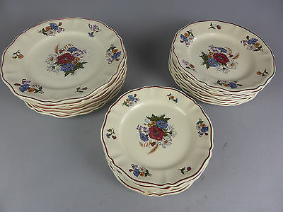 Set De 24 Assiettes 8 + 8 + 8 A Dessert Agreste Sarreguemines Porcelaine France