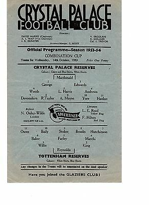 Crystal Palace v Tottenham Reserves Programme 14.10.1953 Combination CUP