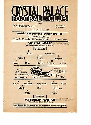 Crystal Palace v Tottenham Reserves Programme 8.9.1954 Combination CUP