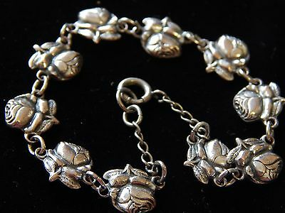 Antique Victorian Silver Rose 2Sided Flower Miraculous Medal Chain Link Bracelet