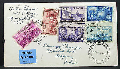 US Airmail Cover Springfield Armed Forces Rotary Stamp 8c USA Lupo Brief (H-7405