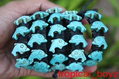 5 Dolphin Artificial Blue Turquoise Leather SlipKnotted Bracelets Wholesale