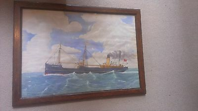 Vintage framed signed watercolour SS Gorsfield steamer 1939