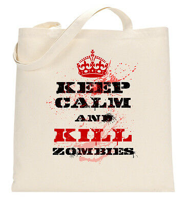 Keep Calm and Kill Zombies Dawn Geek Tote Shopping Bag Large Lightweight