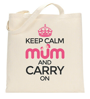 Keep Calm And Carry On Mum Tote Shopping Bag Large Lightweight