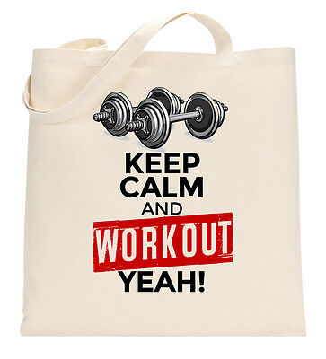 Keep Calm Workout Yeah Gym Top Exercise Tote Shopping Bag Large Lightweight
