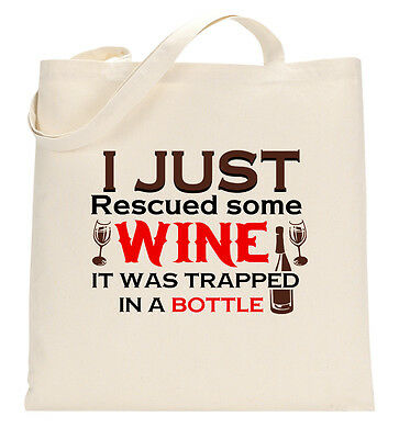 I Just Rescued Some Wine Trapped In Bottle Funny Tote Shopping Bag Large Lightwe