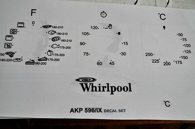 Whirpool AKP 596 IX  oven, cooker panel, decal, stickers, may suit others.