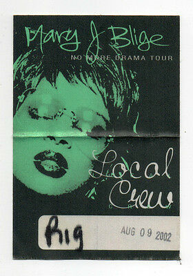 Mary J Blige 2002 No More Drama Tour Local Crew Satin Backstage Pass