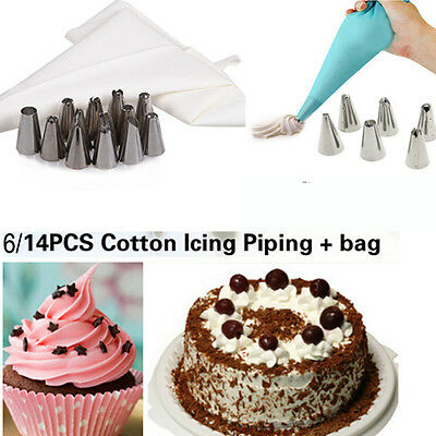 6/14 PCS  Fondant Pastry Tips Coupler Piping Icing Bag Stainless Steel Nozzles