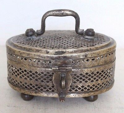 1900's Old Antique Jaali Cut Design Hand Crafted Brass Betel Box / Paan Daan#915