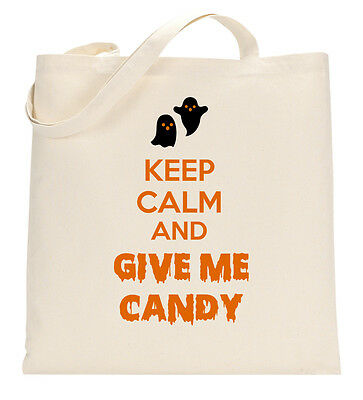 Keep Calm And Give Me The Candy Funny Halloween Tote Shopping Bag Large Lightwei
