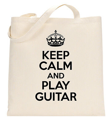 KEEP CALM AND PLAY GUITAR FUNNY MUSIC MUSICIAN Tote Shopping Bag Large Lightweig