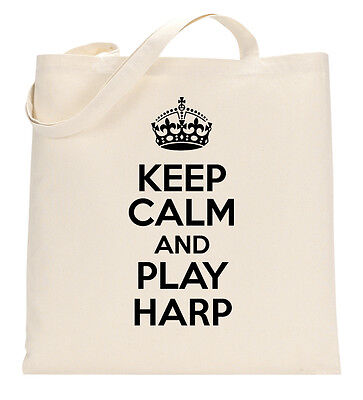 KEEP CALM AND PLAY HARP FUNNY MUSIC MUSICIAN Tote Shopping Bag Large Lightweight