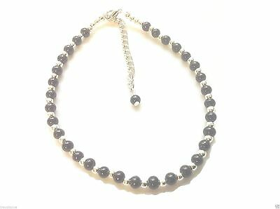 Large Anklet Glass Pearl Bead Silver White Black Rainbow Wedding Bloated Fat Anklets Jewellery & Watches