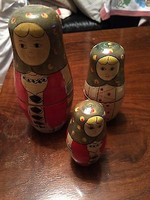 Vintage Russian Doll Set Of 3 Painted Wood
